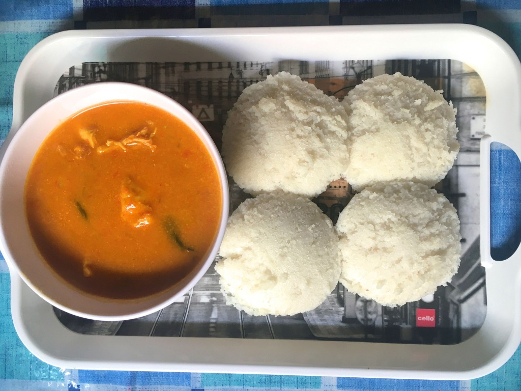 Idly with Tomato Chicken Curry