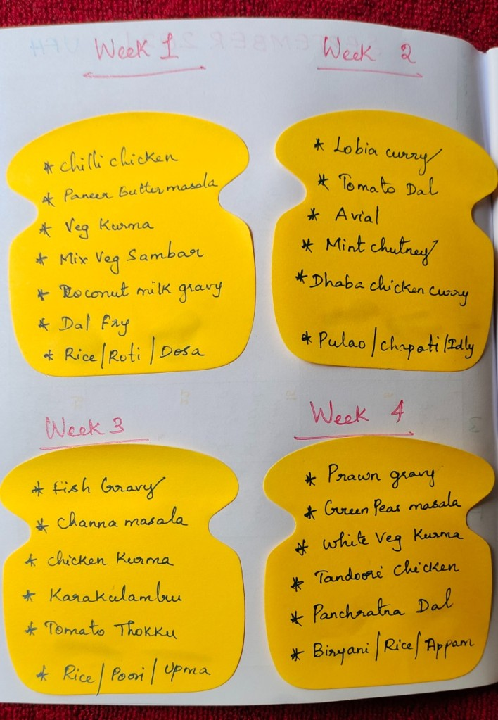 Meal Plan with Sticky Notes